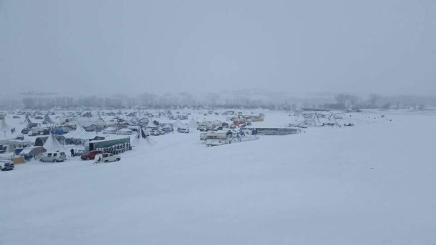 Standing Rock encampment sits under fresh snow