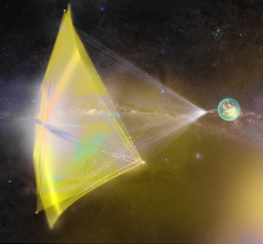 "The ""starchip"" would be about the size of a postage stamp, Yuri Milner says, and the sail would be about a yard across."
