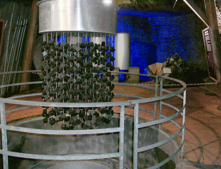 A replica of the B-VIII nuclear reactor at Haigerloch. The cubes were dunked in heavy water.
