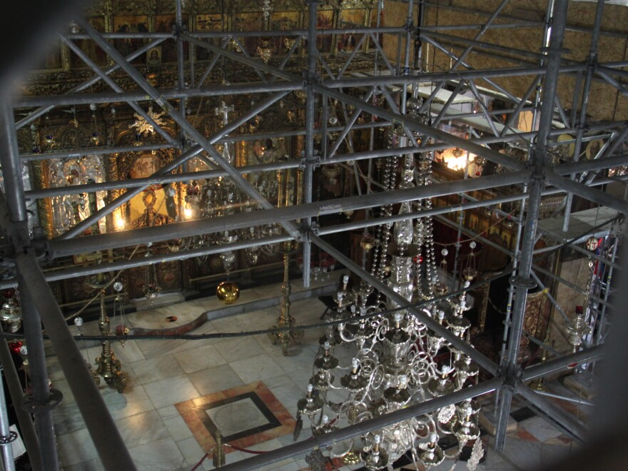 The interior of the Church of the Nativity is in the midst of a major renovation.