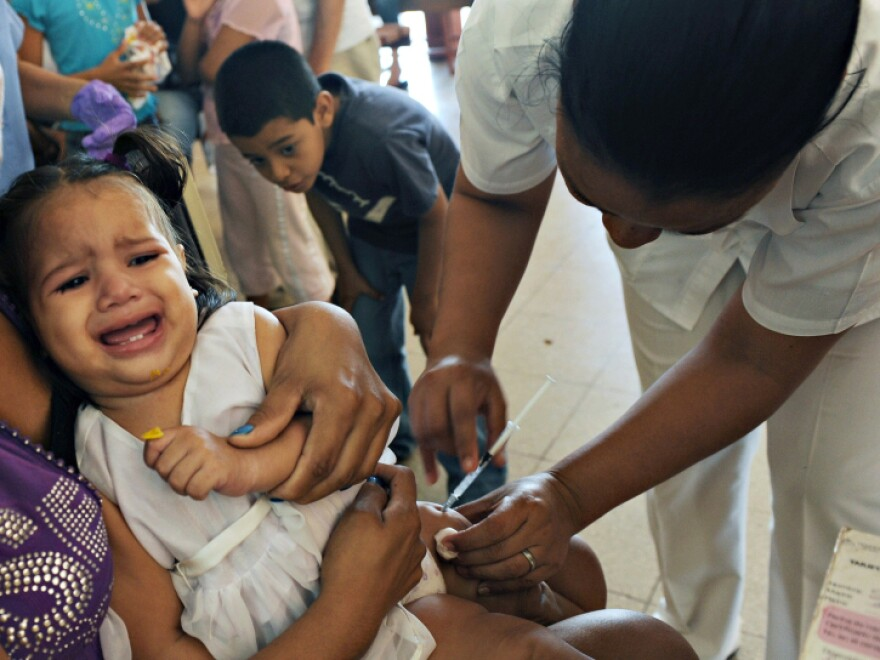 A nurse vaccinates a child against pneumonia at a healthcare center in Managua in January. Nicaragua received pneumococcal vaccines from the GAVI Alliance.