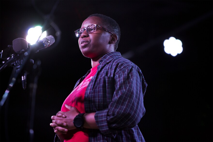LaShana Lewis tells her story at a live taping of The Story Collider podcast in Oct. 2018.