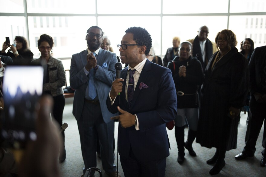 St. Louis County Prosecuting Attorney Wesley Bell speaks with supporters at a reception at the Buzz Westfall Justice Center following his swearing in ceremony. Jan. 1, 2019