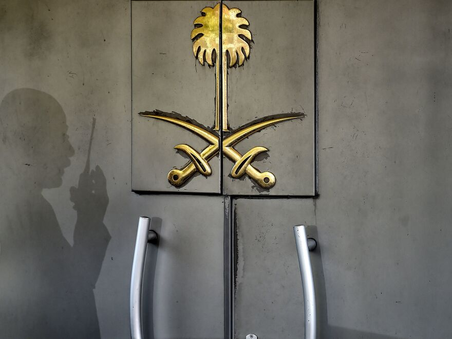 A security officer's shadow marked the door of Saudi Arabia's consulate in Istanbul. The top Saudi prosecutor now says journalist and U.S. resident Jamal Khashoggi was murdered at the diplomatic facility.