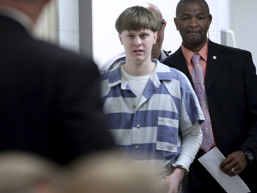 Dylann Roof enters the courtroom at the Charleston County Judicial Center to enter his guilty plea on murder charges in Charleston, S.C., on April 10, 2017.