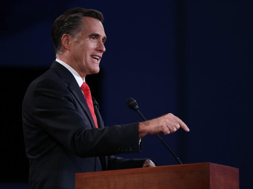 Mitt Romney speaks during the presidential debate Wednesday in Denver.