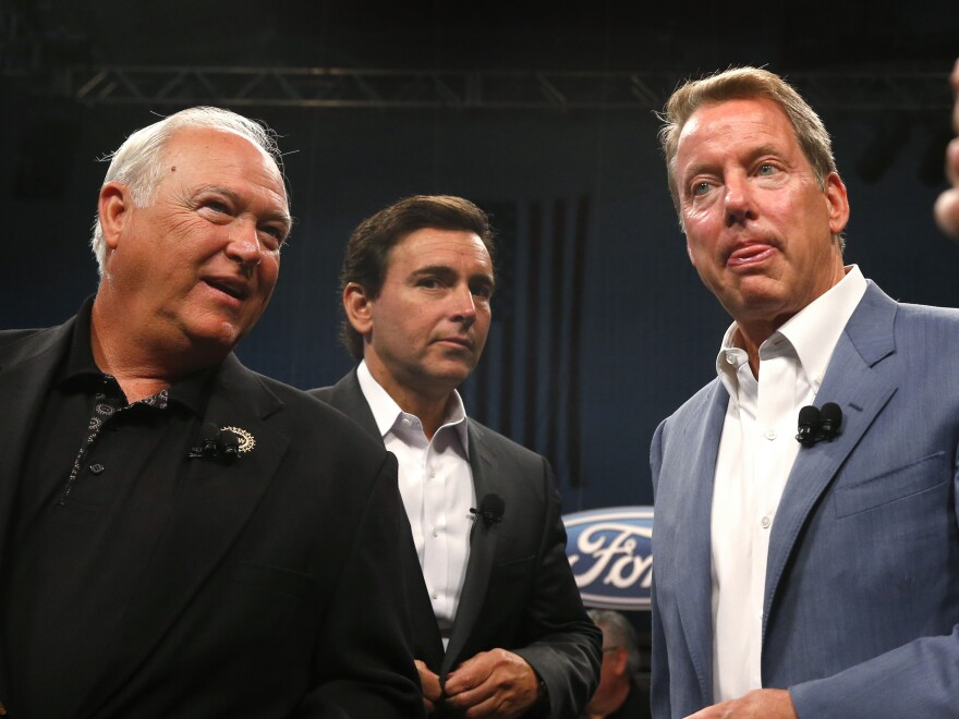 United Auto Workers President Dennis Williams (from left), Ford Motor Co. President and CEO Mark Fields and Ford Executive Chairman William Clay Ford Jr. at the opening of contract negotiations last July in Detroit.