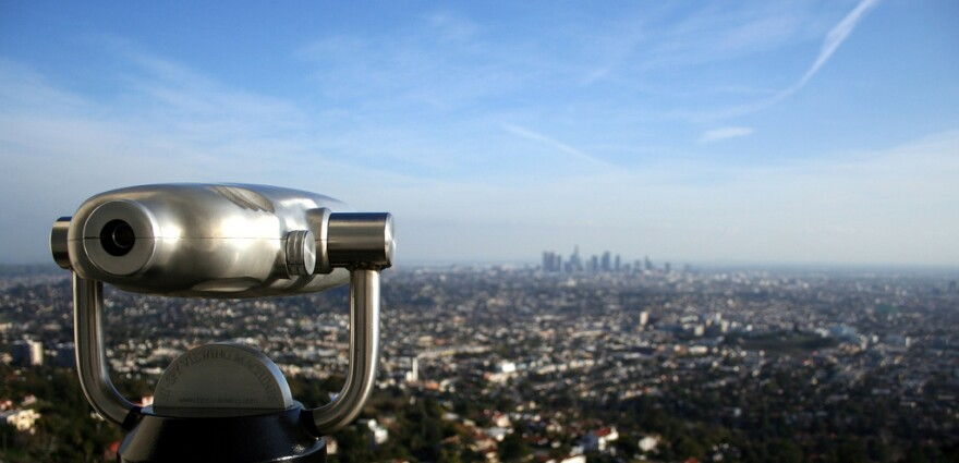 The weekend broadcast of <em>All Things Considered</em> has moved to Los Angeles. This view of the city comes from from Griffith Observatory.