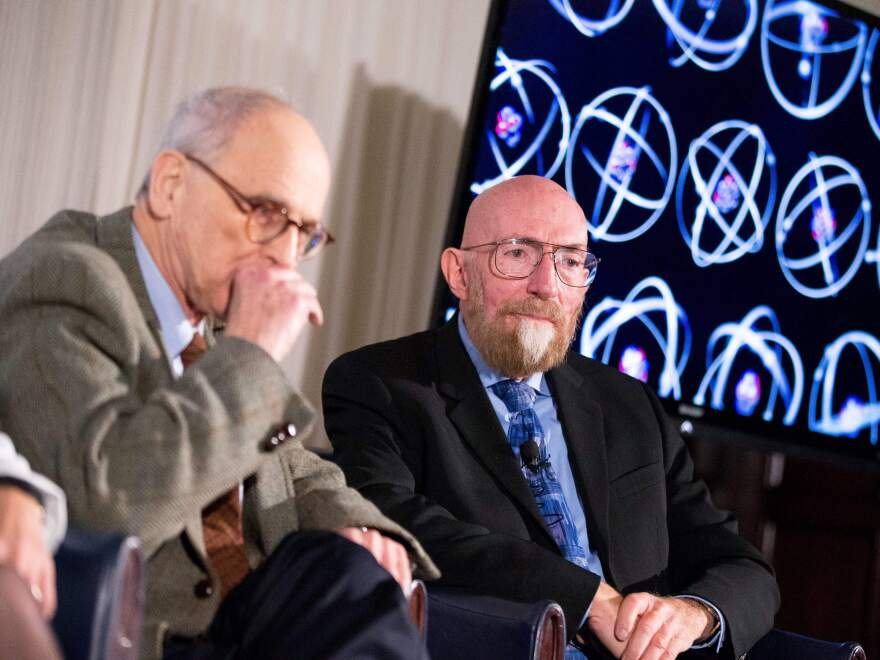 Laser Interferometer Gravitational-Wave Observatory (LIGO) co-founders Rainer Weiss (left) and Kip Thorne appear during a news conference at the National Press Club in Washington, D.C., on Feb. 11, 2016.