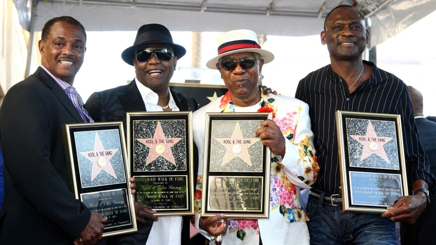 "From left: Robert ""Kool"" Bell, Ronald ""Khalis"" Bell, Dennis ""Dee Tee"" Thomas and George Brown of Kool & The Gang, receiving a star on the Hollywood Walk of Fame on Oct. 8, 2015."