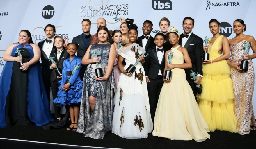 "Cast of ""This is US"" poses in the press room during the 25th Annual Screen Actors Guild Awards at the Shrine Auditorium in Los Angeles."