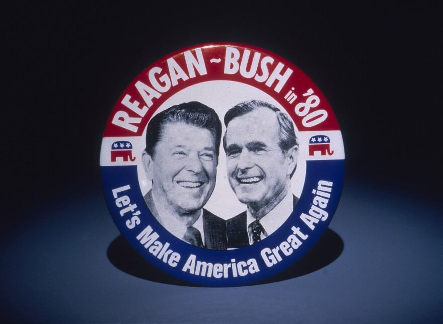 A promotional badge for the 1980 Reagan/Bush presidential campaign.