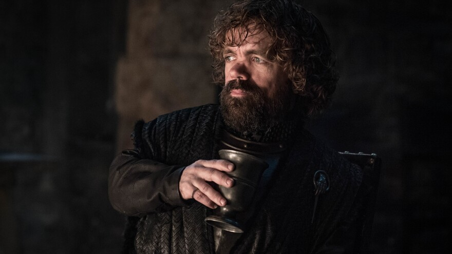 Tyrion (Peter Dinklage) in his cups (well, goblets, technically) on <em>Game of Thrones</em>.