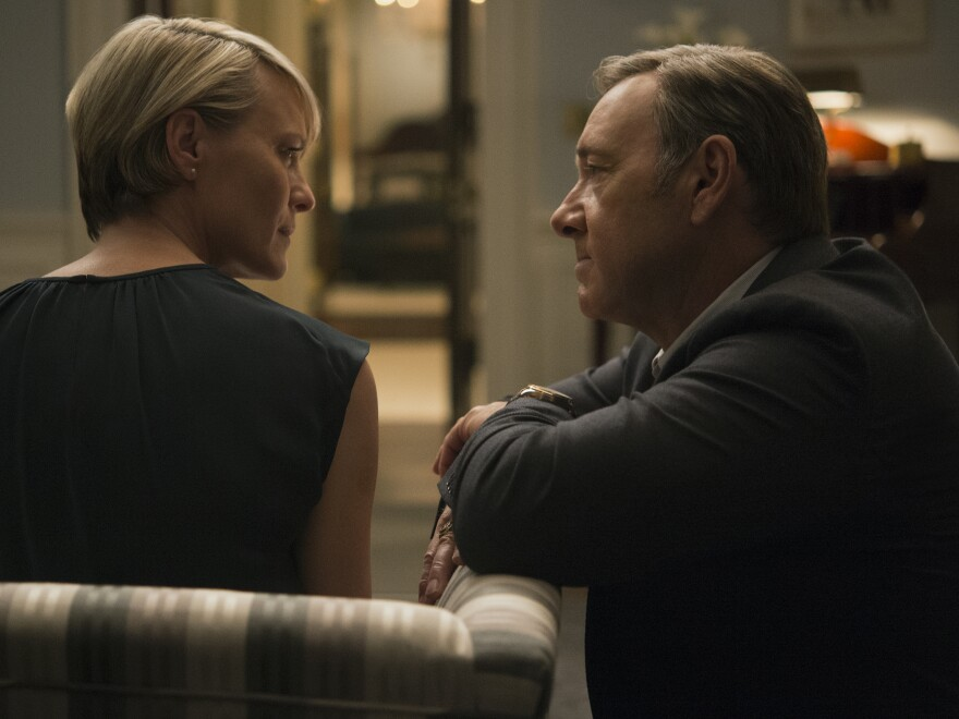Robin Wright, as first lady Claire Underwood, begins to challenge her husband on his machinations this season.