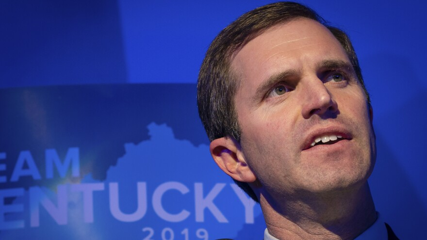 Democrat Andy Beshear speaks at the Kentucky Democratic Party election night watch event last month. Beshear defeated Republican Gov. Matt Bevin in a state President Trump had carried by 30 points.