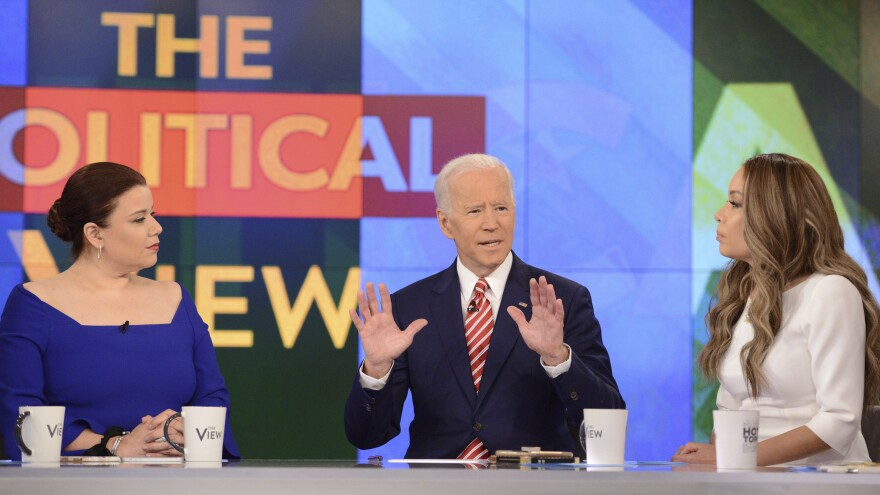 Democratic presidential candidate and former Vice President Joe Biden appears on <em>The View</em> on Friday, where he was asked about criticism from Anita Hill and accusations of unwanted touching.