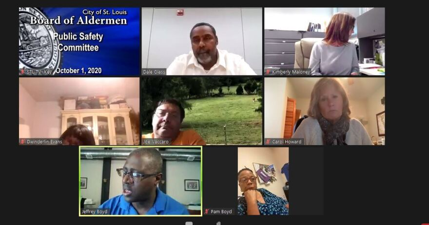 The image is a screenshot from a virtual meeting of the city's Public Safety committee. There are seven people in the panel.