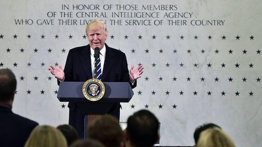 President Donald Trump speaks at CIA Headquarters in Langley, Va., on Saturday.