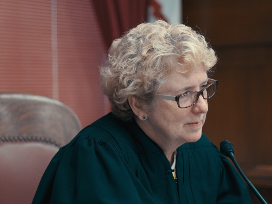 Judge Patricia Keller, pictured here in a still from <em>Heroin(e)</em>, established a drug court program in Cabell County, W.V. to help participants overcome addictions.
