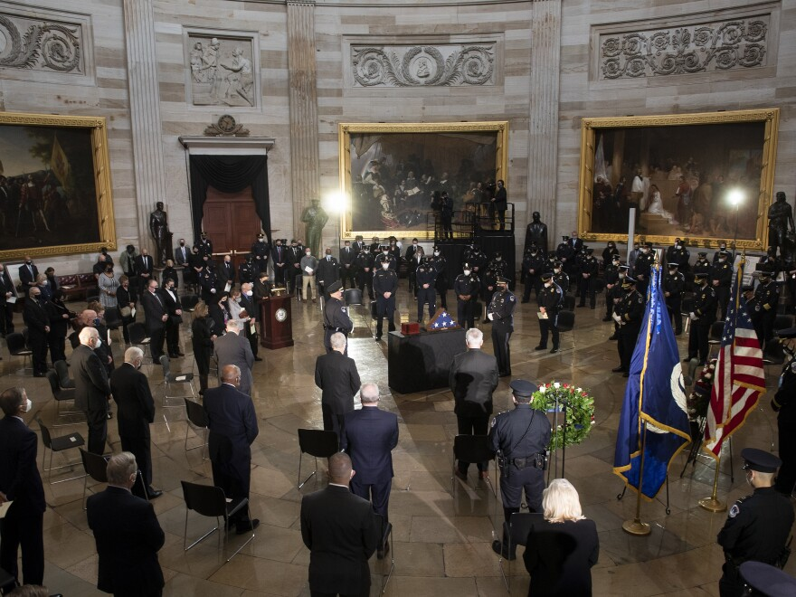 A funeral service for Capitol Police Officer Brian Sicknick as he lies in honor in the Rotunda of the U.S. Capitol Wednesday. Sicknick died as a result of injuries he sustained during the Jan. 6 attack on the U.S. Capitol.
