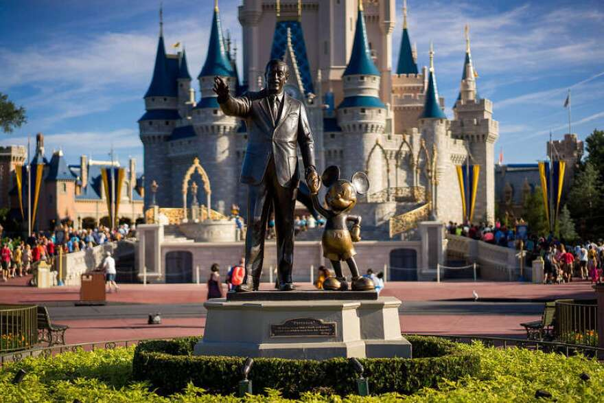 Statue of Walt Disney and Mickey Mouse in front of Cinderella's Castle at Walt Disney World.