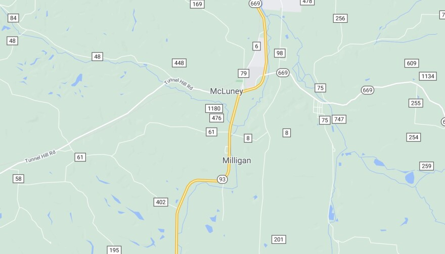 A map of Milligan, Ohio.