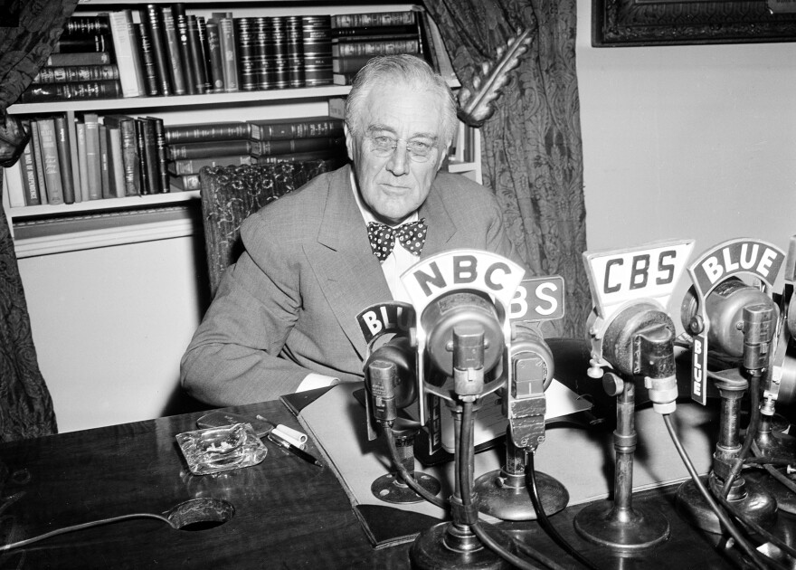 "President Franklin Roosevelt is seen shortly before addressing the public in one of his ""fireside chats"" from the White House in June 1944."