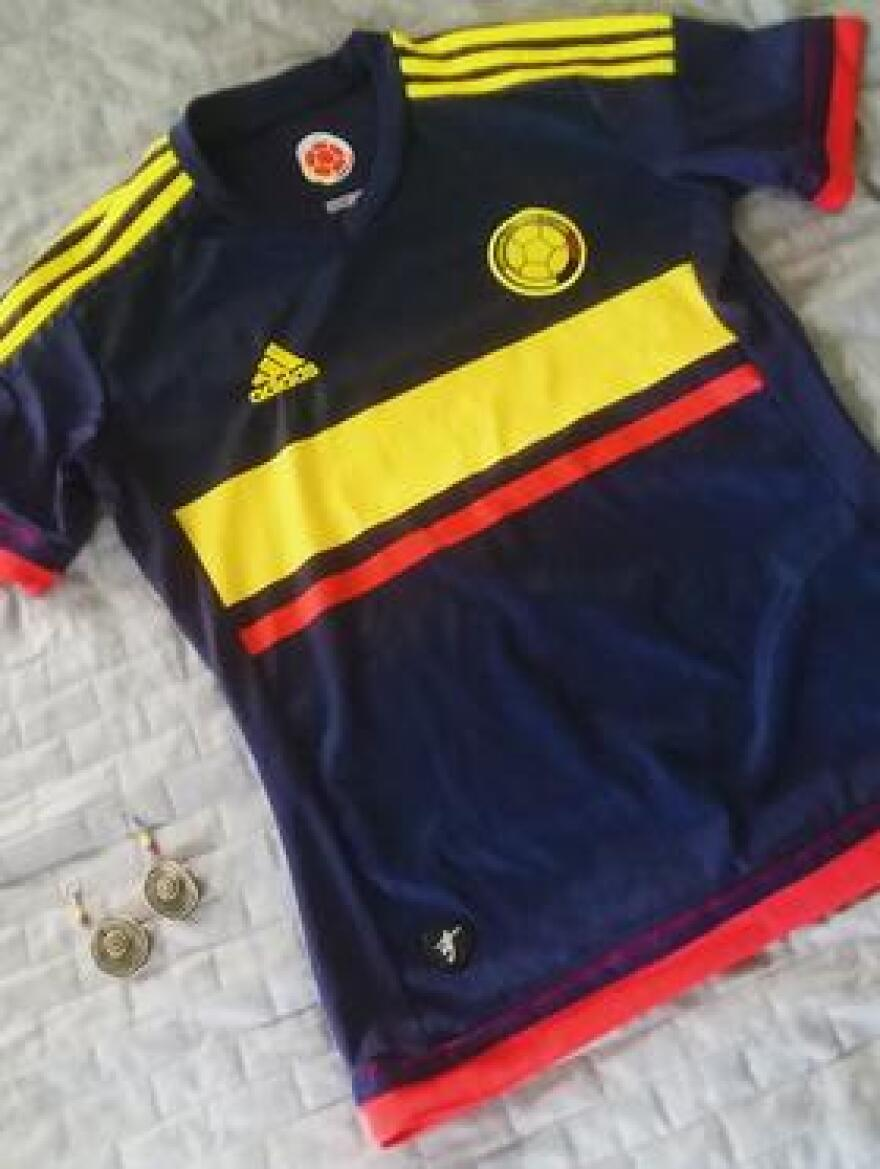 Cristal Balaban's Colombia jersey and Colombia earrings that she wears for good luck during the World Cup.
