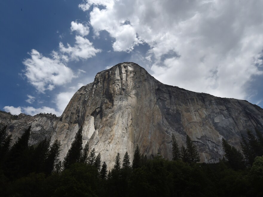 """The El Capitan monolith in California's Yosemite National Park, seen in June 2015. On Wednesday, climbers Alex Honnold and Tommy Caldwell managed a feat in under two hours that most climbers take days to achieve — scaling the famous """"Nose"""" route up the rock."""