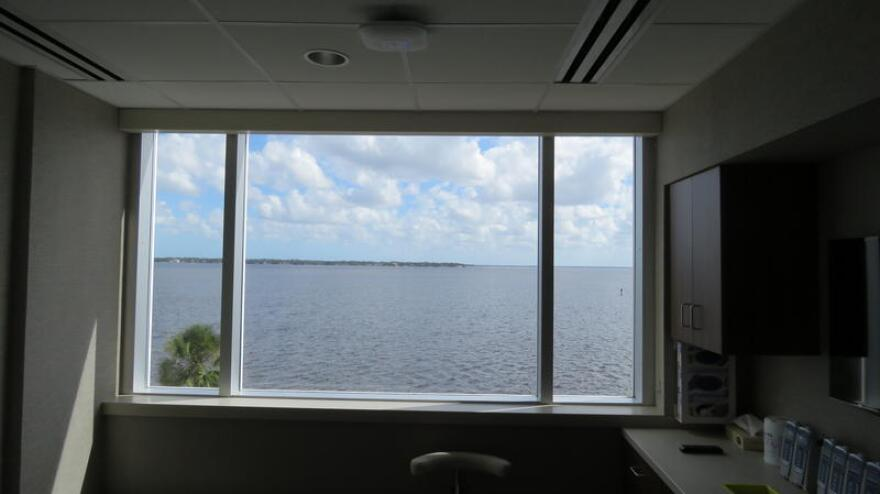 A view from a patient's room overlooking the St. Johns River