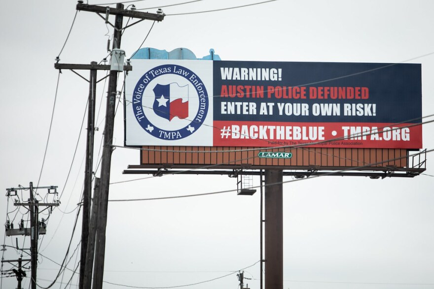 """A billboard on I-35 warns: """"Austin Police Defunded, Enter At Your Own Risk!"""""""