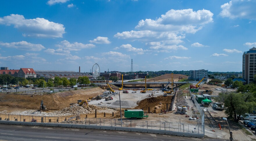 Construction for the new MLS stadium in downtown St. Louis on June 18, 2020.