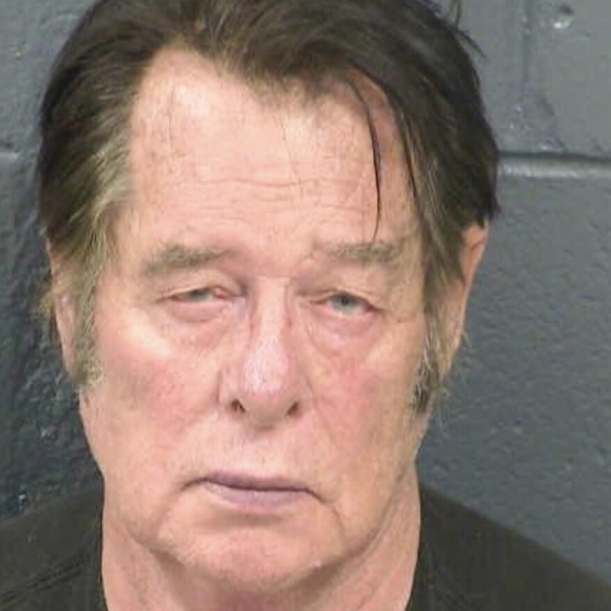 Larry Mitchell Hopkins appears in a police booking photo taken in Las Cruces, N.M., on April 20. Hopkins made his initial court appearance Monday, on charges of possession of firearms by a felon.