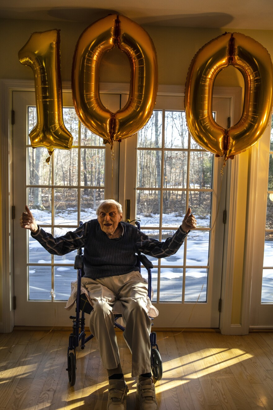My father, George Bronstein, celebrating his 100th birthday at his home last year. <em>March 10, 2019. East Falmouth, Mass.</em>