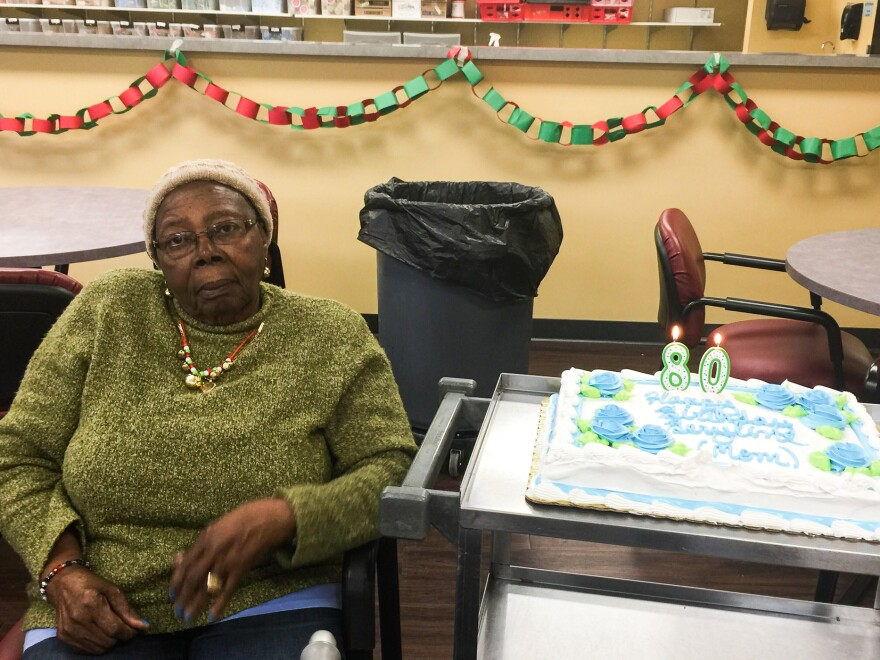 Jacqueline McFarquhar's mom, Beryline Hillaire, celebrating her 80th birthday at the adult day care center Active Day.