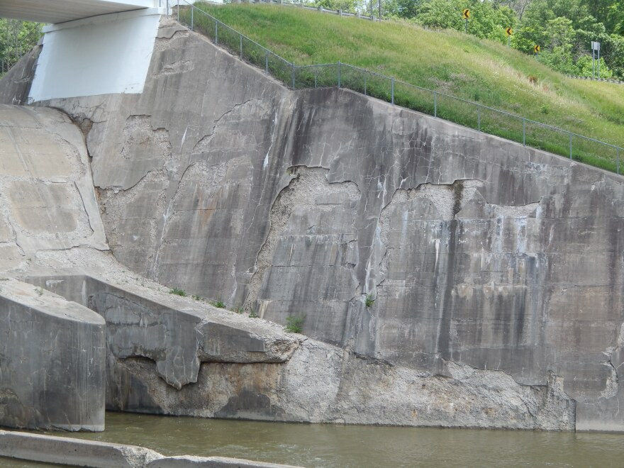 Damage to the cement at Taylorsville Dam is among the many maintenance needs along the dam and levee system.
