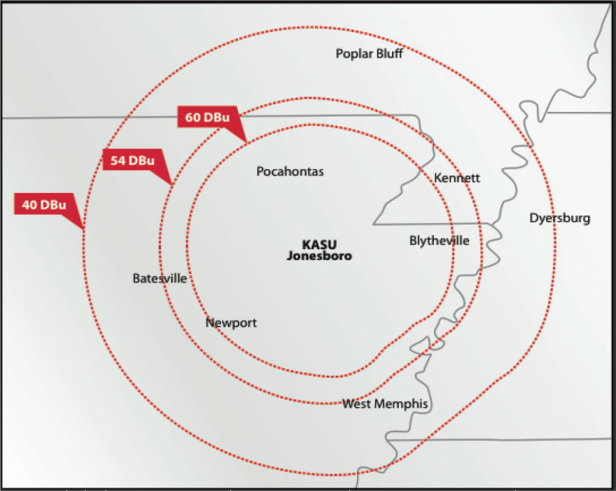 Here is a look at how much coverage KASU provides.  As you can see, we reach Northeast Arkansas, the Missouri Bootheel, and West Tennessee.