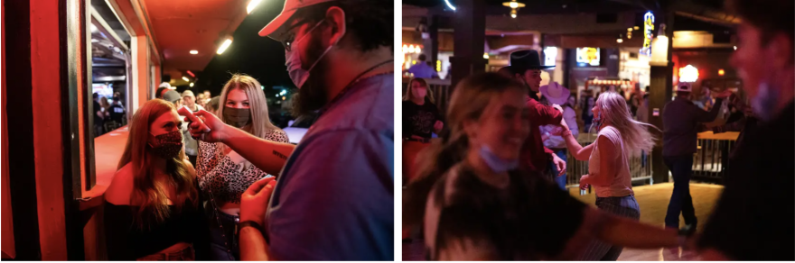 Left: A doorman takes temperatures outside of Mesquites Bar and Grill before customers entered in Lubbock. Right: Guests dance at Billy Bob's Texas, a honky-tonk in Fort Worth.