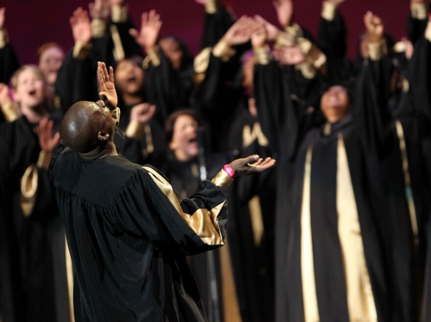 The Apostolic Tabernacle Mass Choir performs in Oakland, Calif., in 2010.