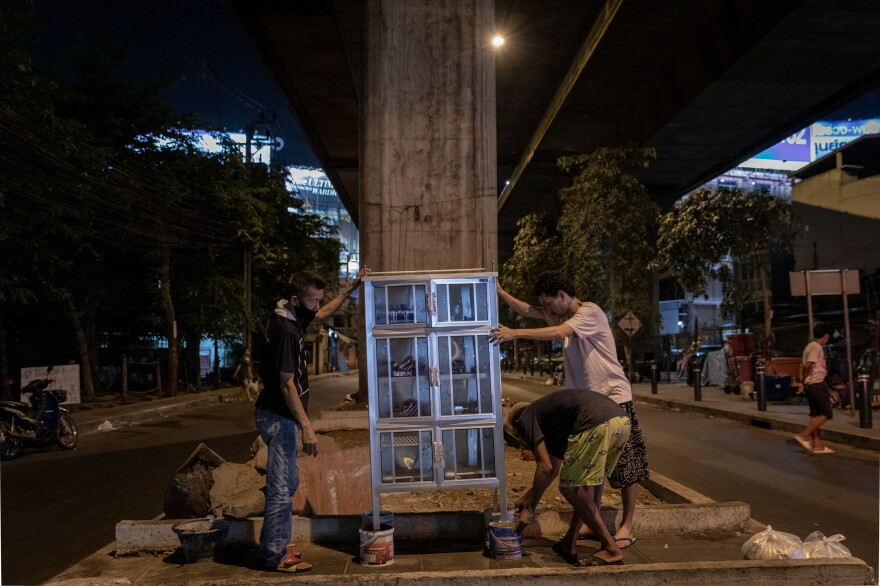 A community food pantry is installed under an expressway in the Din Daeng area of Bangkok. The community pantry, with food donated by citizens, was started by a volunteer group called Little Bricks and modeled after Little Free Pantries, founded by Jessica McClard in Fayetteville, Arkansas.