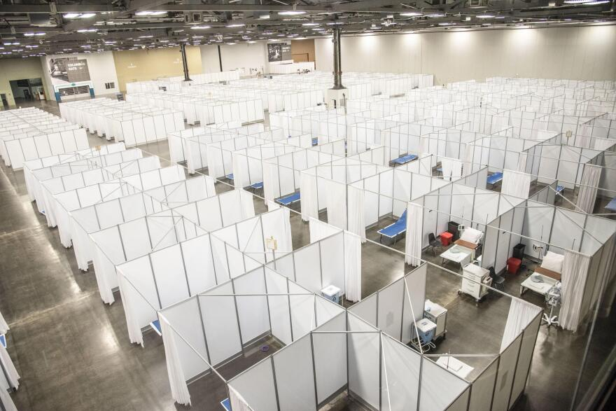 The Greater Columbus Convention Center was transformed into a makeshift COVID-19 hospital in April as officials expected a surge of cases. It was torn down but officials said it could be reassembled in a few days if needed.