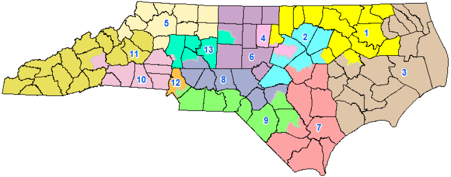 The 2016 North Carolina congressional districts map.