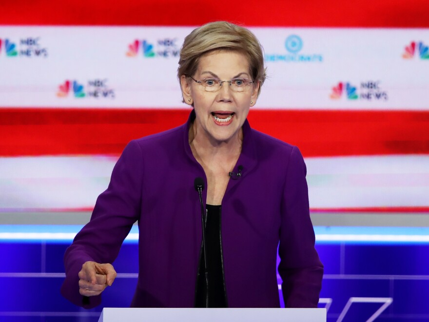 "Massachusetts Sen. Elizabeth Warren argued that the economy under President Trump is ""doing great for a thinner and thinner slice at the top"" at this week's Democratic primary debate."