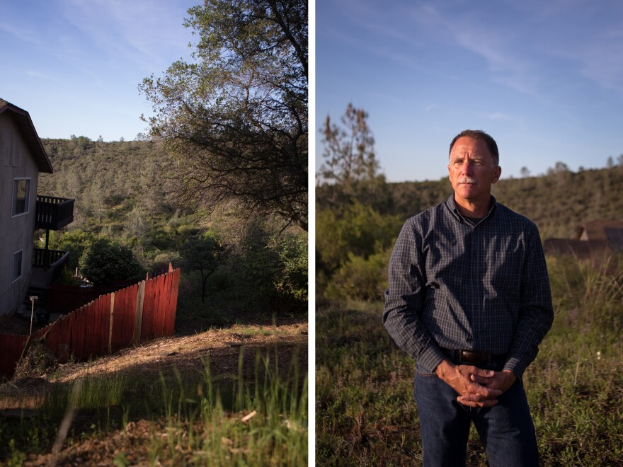 (Left) The wildland urban interface represents an issue across many parts of the West, where homes sit next to land with flammable vegetation. (Right) Ken Pimlott retired last year following the Camp Fire. He says that beginning around 2014, fires began getting worse and more frequent.