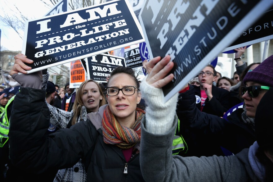"""Anti-abortion activists participate in the annual """"March for Life"""" in Washington, D.C., on Thursday."""