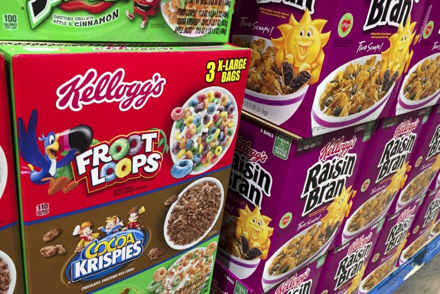 Boxes of Kellogg's cereals including Froot Loops, Cocoa Krispies and Raisin Bran are seen at a store in Arlington, Virginia, Dec. 1, 2016. Kellogg's is facing a boycott organized by the Trump-aligned Breitbart News after the cereal giant decided to pull its advertising from the website. (Saul Loeb/AFP/Getty Images)