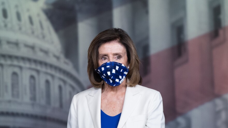 Speaker of the House Nancy Pelosi wears a mask on Capitol Hill on April 30. The Senate is scheduled to return Monday, but members of the House will not return over coronavirus fears.