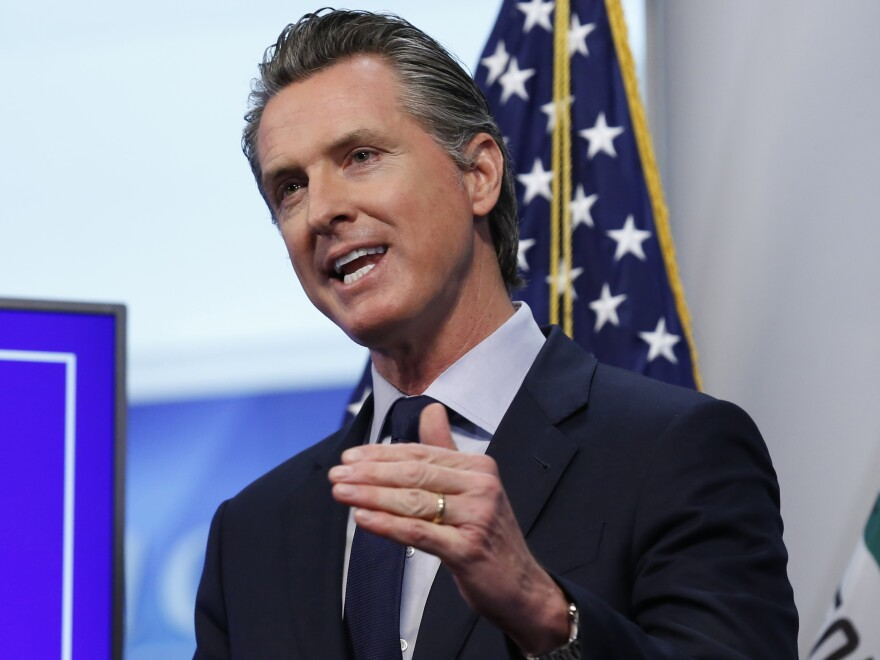 Gov. Gavin Newsom, pictured last month, announced Monday that improvement in pandemic conditions allows more steps toward opening California businesses.