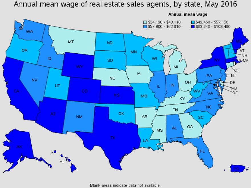 map of realtor wages