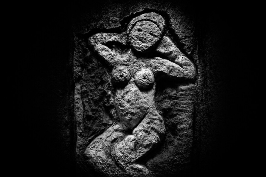 """""""This is a beautiful abstract nude that could be in an art museum,"""" photographer Jeff Gusky says of this figure, carved into the quarry wall by a World War I soldier."""